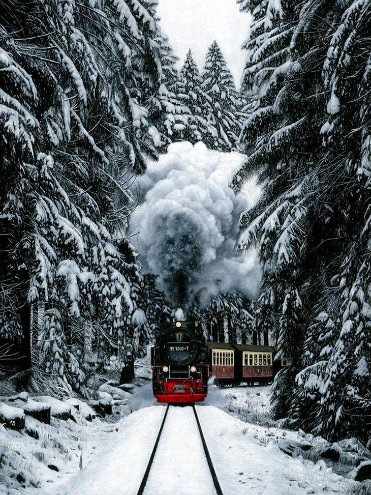 ציורים פוטוריאליסטים של הת'ר רוני: רכבת נוסעת ביער מושלג