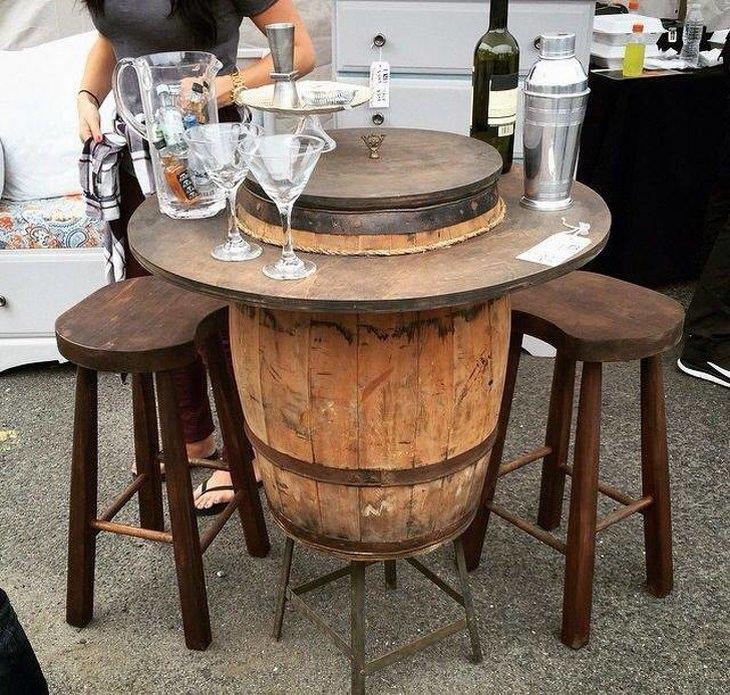 רהיטים ממוחזרים: חבית שהפכה לשולחן