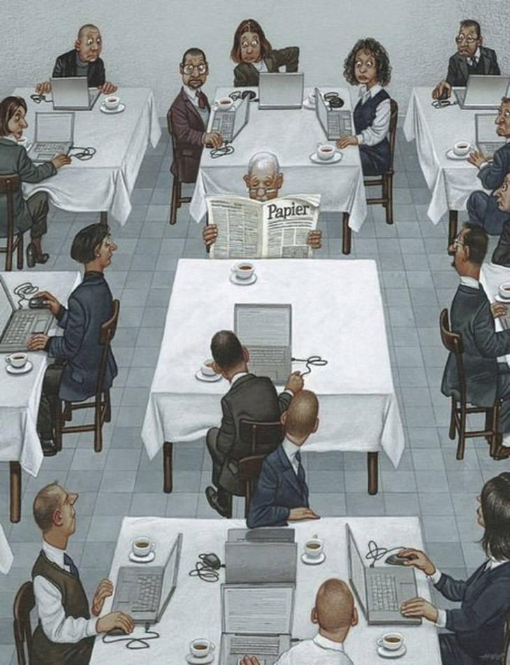 איורים שמציגים את האמת הקשה על העולם: מסעדה שמלאה באנשים עם מחשבים ניידים, וכולם מסתכלים על אדם אחד במרכז שקורא עיתון