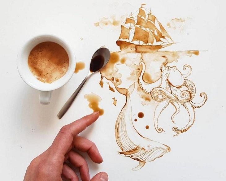 אומנות קפה: אונייה בים עם תמנון ענק במצולות