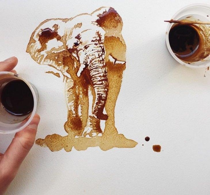 אומנות קפה: פיל