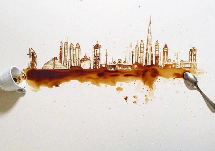 אומנות קפה: קו רקיע מלא במבנים מרשימים