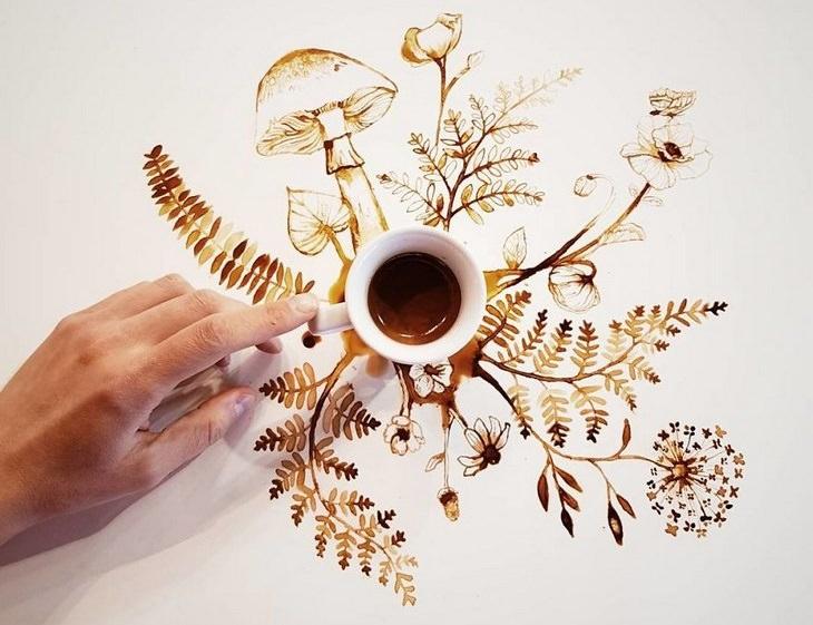 אומנות קפה: צמחים שיוצאים מכוס קפה
