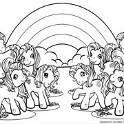 דפי צביעה לילדים: סוסי פוני