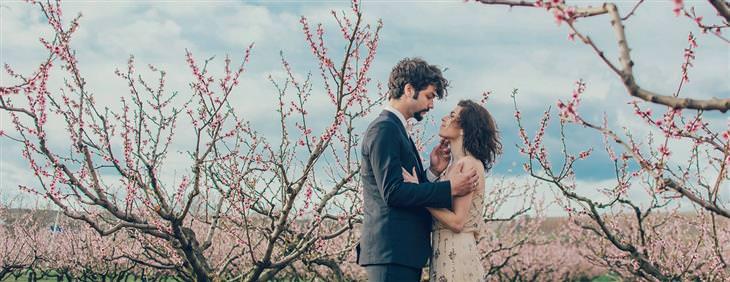 חוקים לזוגיות מאושרת: זוג מסתכל אחד על השני בין עצים