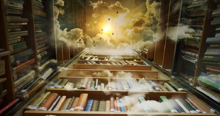 הפרעות קשב וריכוז: איור של ספרייה גבוהה ומלאה בספרים המגיעה עד לשמיים בהם מבצבצת שמש