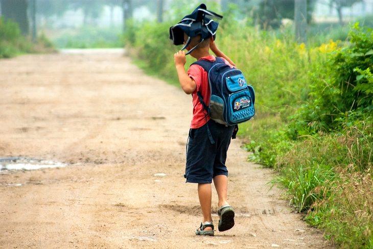 אתגרים שילדים מתמודדים עימם: ילד עם תיק בית ספר גל גבו, מרים תיק נוסף על ראשו