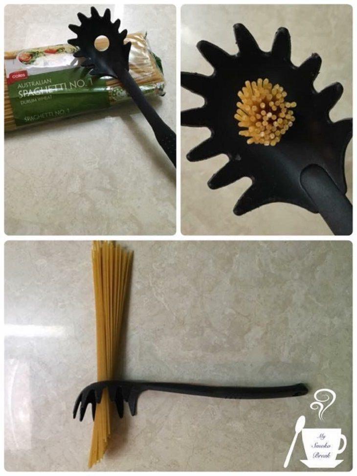 דרכים לשימוש במוצרים יומיומיים: כך לפסטה עם פסטה בתוך החור שלה
