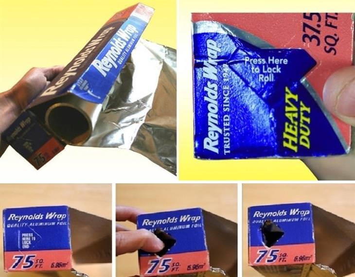 דרכים לשימוש במוצרים יומיומיים: חור בצד אריזת רדיד אלומיניום