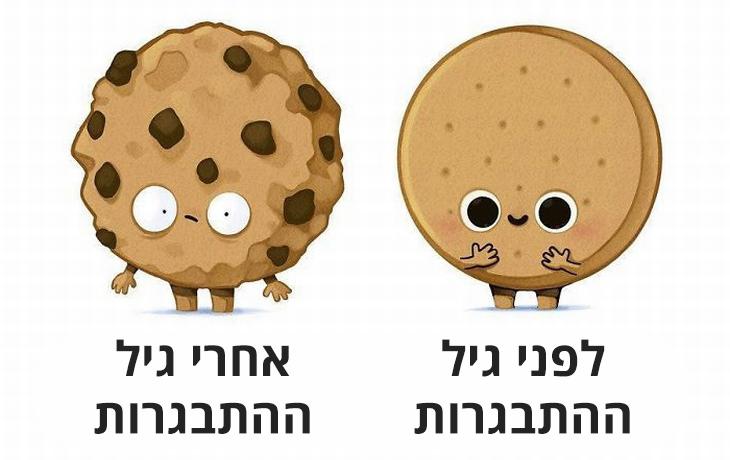 לפני ואחרי: עוגיה חלקה לפני גיל ההתבגרות ועם חתיכות שוקולד צ'יפס עליה אחרי גיל ההתבגרות