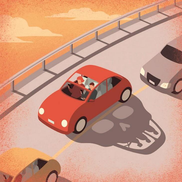 איורים מעוררי מחשבה: משפחה שנוסעת ברכב עם צללית של גולגולת בזמן שימוש בטלפון נייד