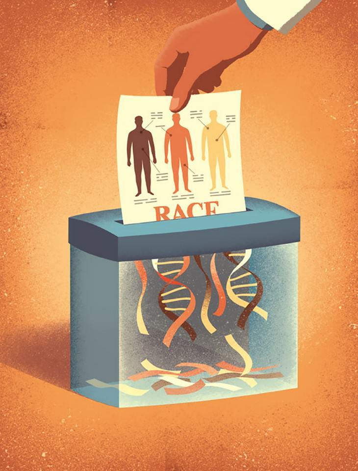 איורים מעוררי מחשבה: איור של גוף האדם נגרס והופך לסלילי DNA