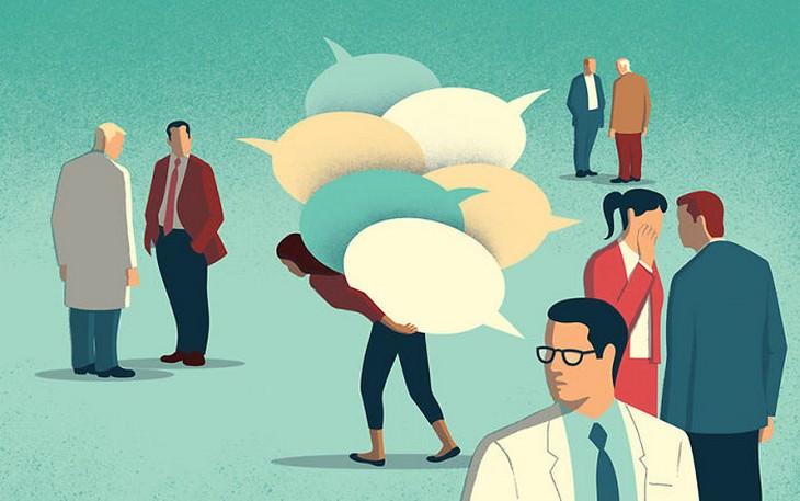 איורים מעוררי מחשבה: אנשים מדברים על אישה מאחורי גבה