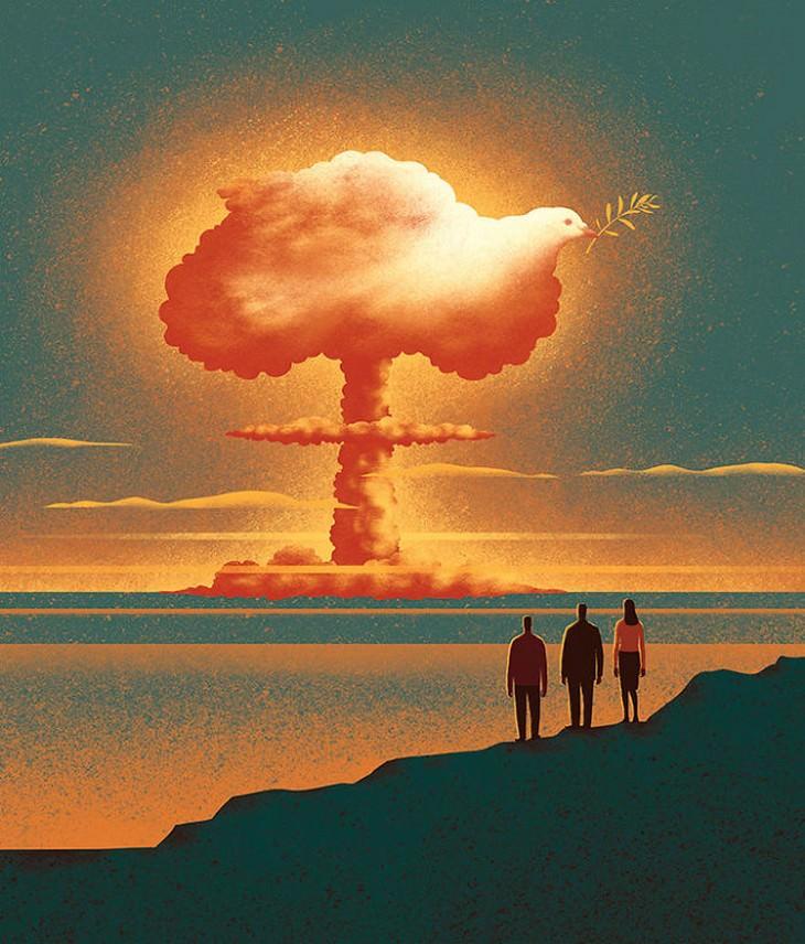 איורים מעוררי מחשבה: פטריית פצצת אטום בצורת יונה