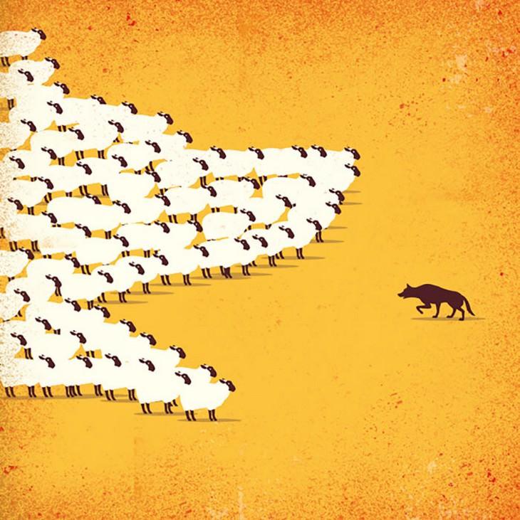 איורים מעוררי מחשבה: זאב מול עדר כבשים בצורת זאב