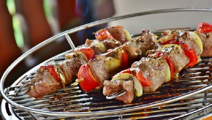 עייפות: שני שיפודי בשר עם ירקות על רשת