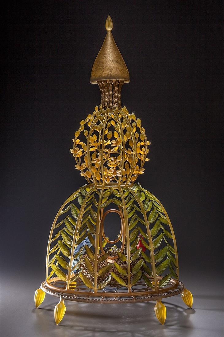 יצירות מזכוכית: כלוב עלים מניפוח זכוכית