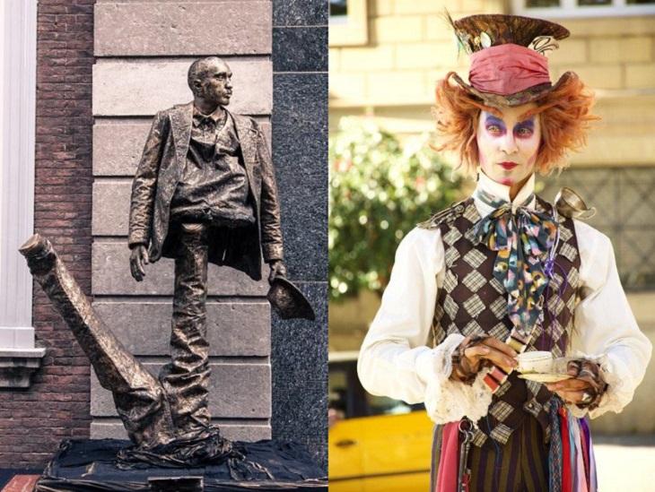 פסטיבל פסלים חיים ברחובות: פסל חי של כובען מטורף ושל אדם חתוך לחצי
