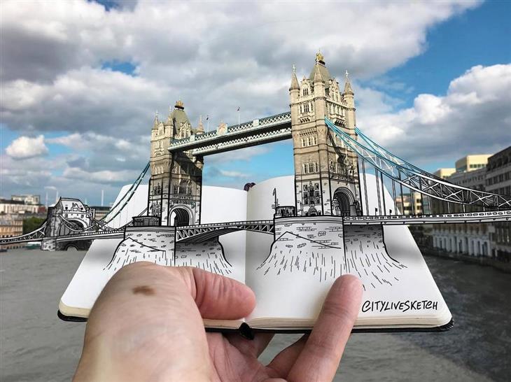 ציורי תלת ממד: גשר מצודת לונדון