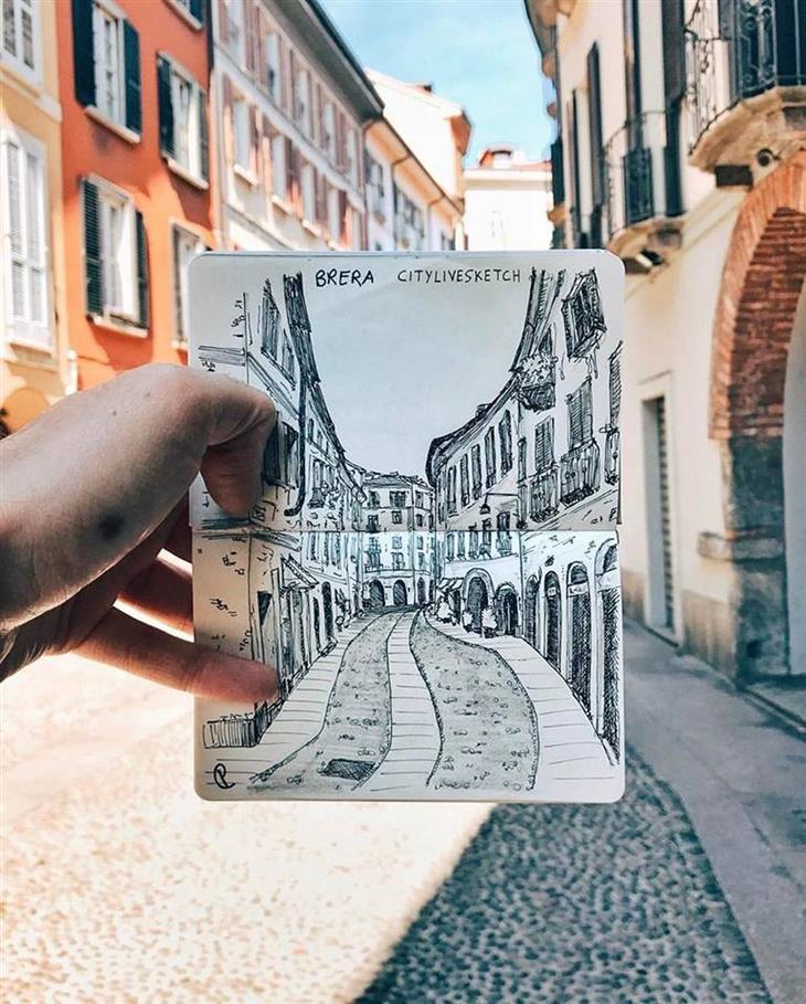 ציורי תלת ממד: תרשים של רחוב ברובע בררה שבמילאנו