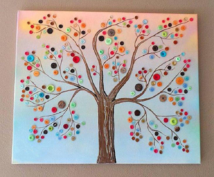 8 יצירות מכפתורים: תמונה של עץ בשילוב כפתורים