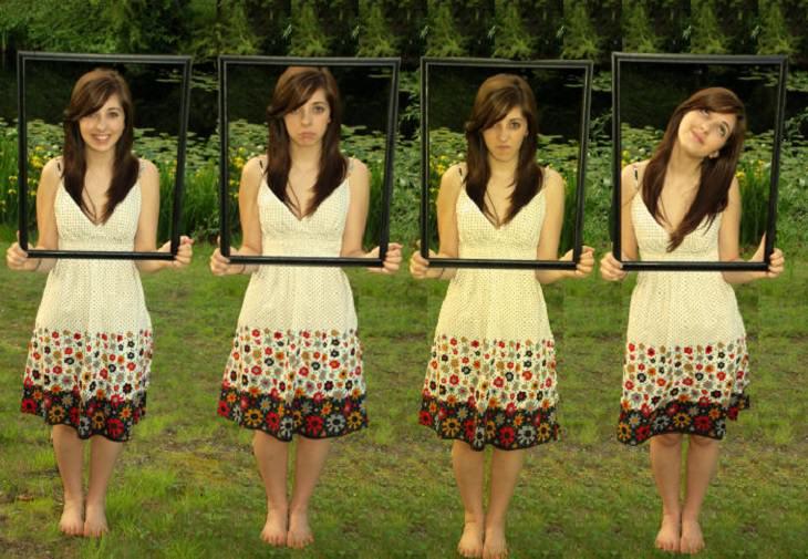 דרכים לנצח את השליליות: אשה עושה פרצופים מאחורי מסגרות תמונה
