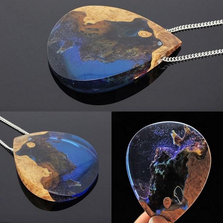 תכשיטים מיוחדים מעץ ושרף: תליון מחובר לשרשרת