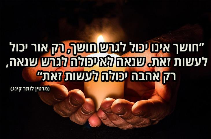 ציטוטי אהבה: חושך אינו יכול לגרש חושך, רק אור יכול לעשות זאת. שנאה לא יכולה לגרש שנאה, רק אהבה יכולה לעשות זאת