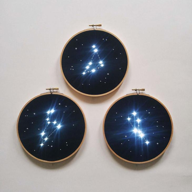 יצירות תחרה מוארות של ג'יובאנה מרקון: מספר יצירות של כוכבים רקומים