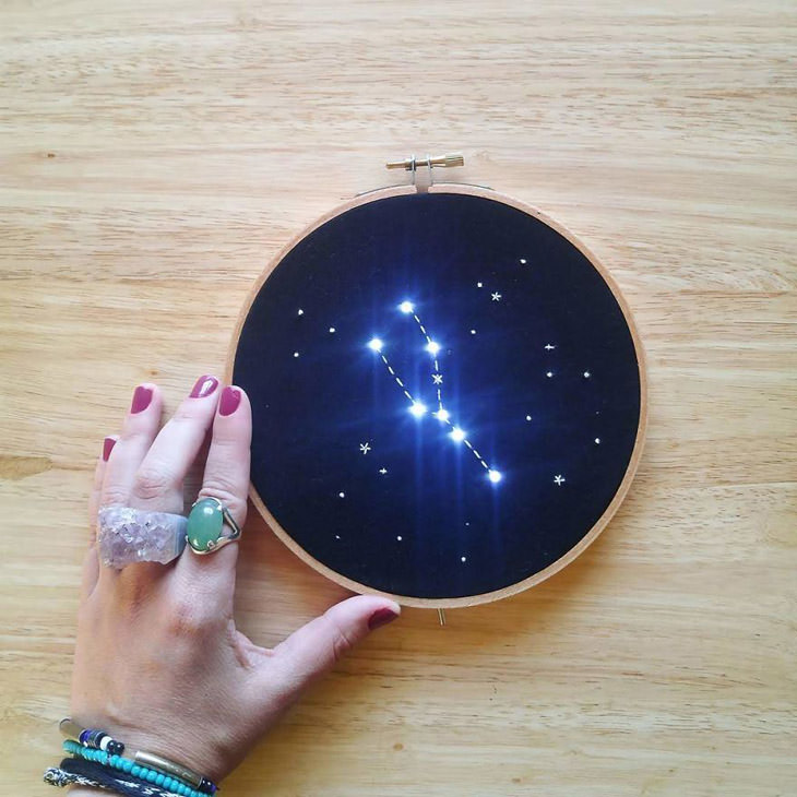 יצירות תחרה מוארות של ג'יובאנה מרקון: מערכת כוכבים רקומה