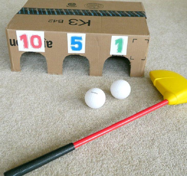 6 משחקים כיפים: מיני גולף מקרטון לילדים