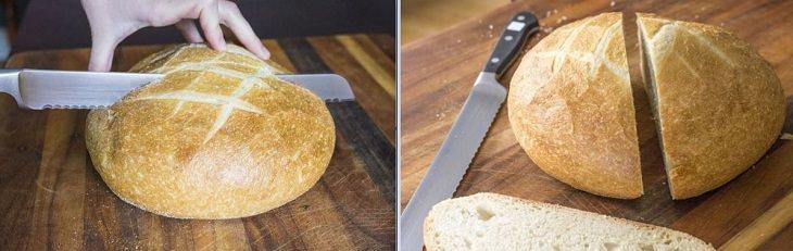 שמירה על טריות הלחם: כיכר לחם חתוכה לשניים