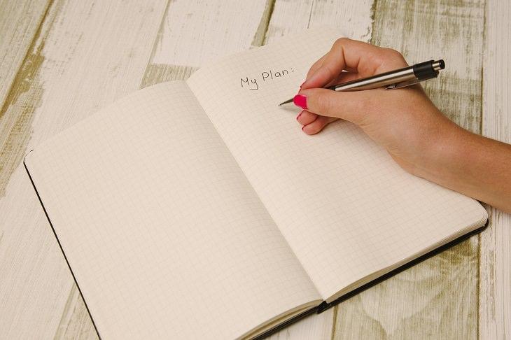 """כוח רצון: יד נשית כותבת על דף """"התוכנית שלי"""""""