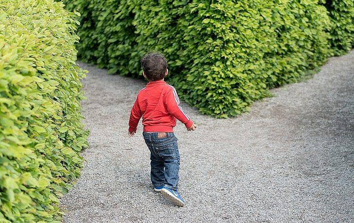 4 טיפים שימושיים לפתרון ויכוחים: ילד קטן עומד בפרשת דרכים במבוך