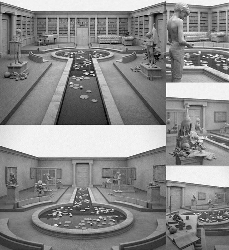 16 פסלים יפים ומרהיבים: חדר גדול ובמרכזו בריכת מים עם עלים צפים