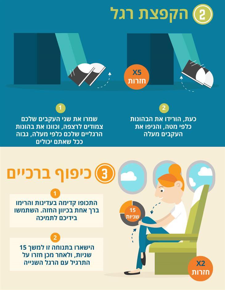 שמירה על כושר ובריאות בטיסות