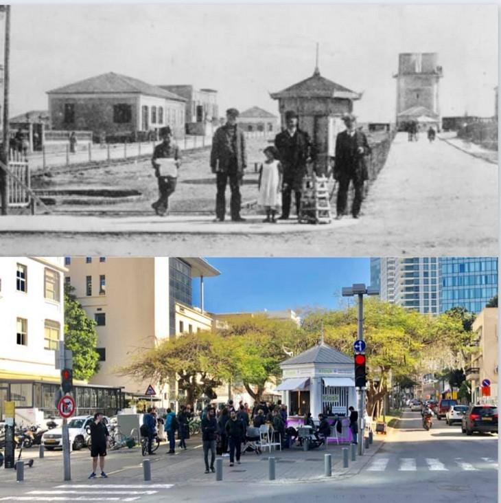 מקומות בישראל בעבר ובהווה: הקיוסק הראשון בשדרות רוטשליד - 1919 לעומת 2019