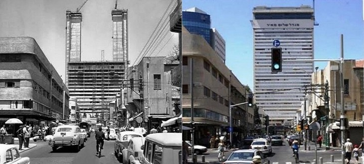 מקומות בישראל בעבר ובהווה: מגדל שלום בתל אביב - 1963 לעמות 2013