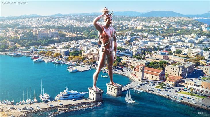 שחזורי 7 פלאי תבל של העולם העתיק: שחזור של רודוס כפי שהייתה ניראת כיום עם פסל הקולסוס מרודוס