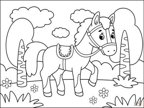 דפי צביעה של חיות לילדים: סוס