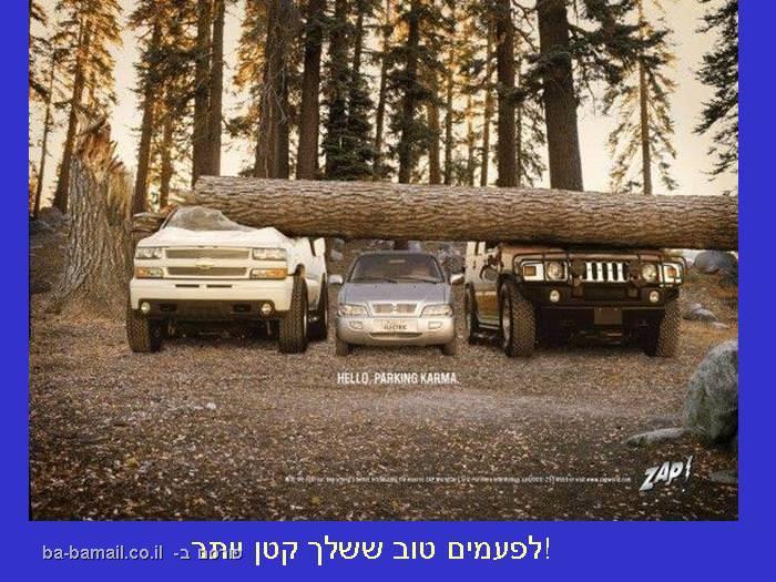 תמונה מצחיקה של מכוניות מרוסקות