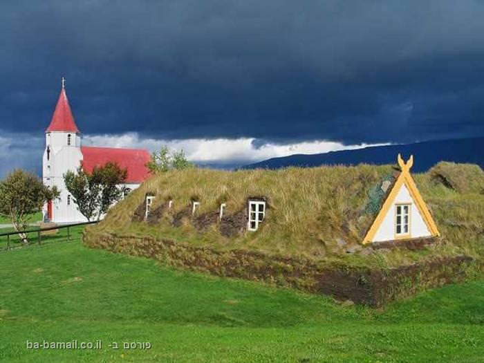 איסלנד, קרחונים, בית דשא, דשא, כנסייה