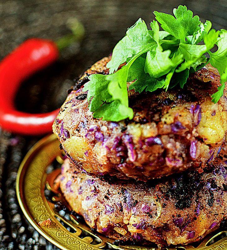 מתכון לקציצות תפוחי אדמה עם כרוב סגול