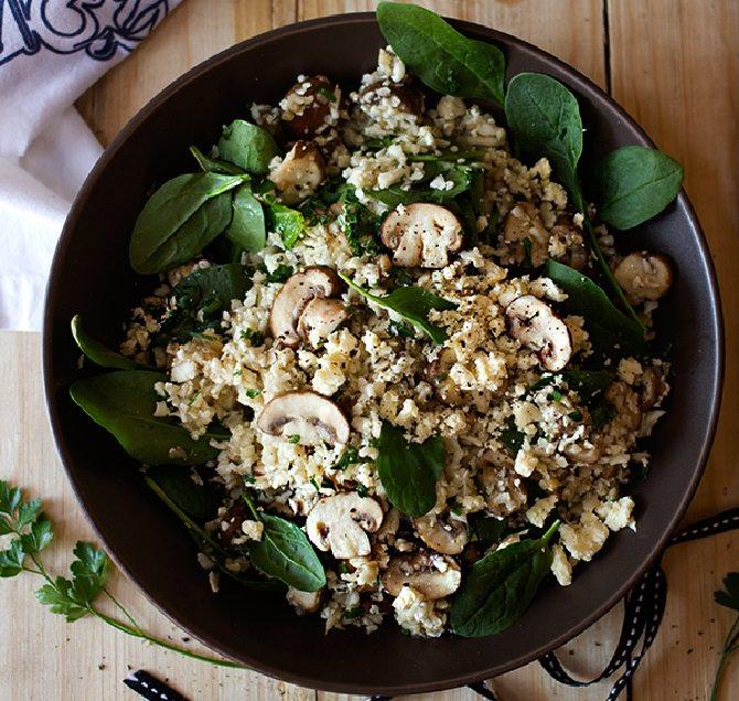 מתכון לתבשיל פילאף עם פטריות, תרד וכרובית