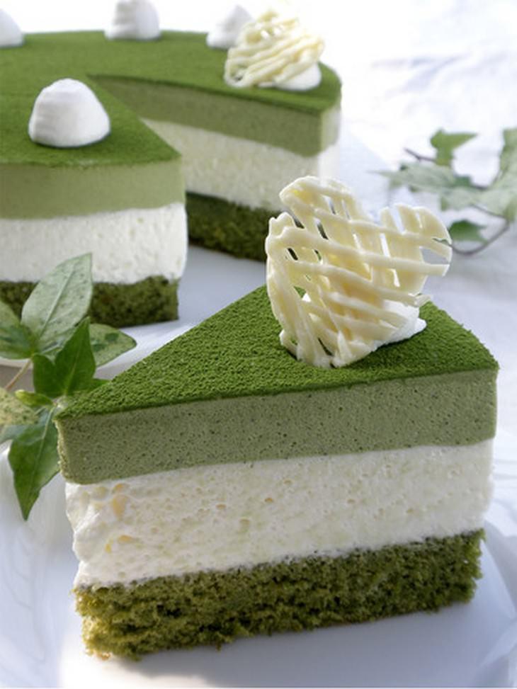 מתכון לעוגת תה ירוק ומוס שוקולד לבן