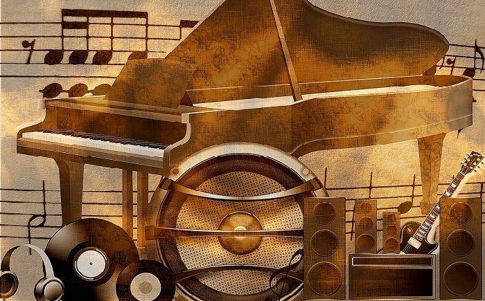פסנתר כנף ומסביבו תווי נגינה, רמקולים אוזניות ופריטים דומים נוספים