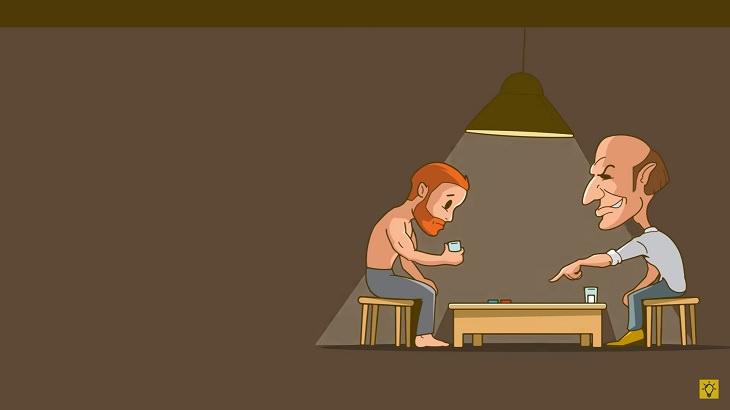 חידות: שני אנשים יושבים מול שולחן נמוך, כשאחד מהם מצביע על גלולות והאחר מחזיק כוס מים