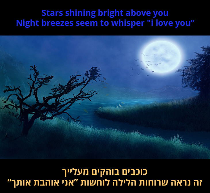 """מצגת שיר """"חלום עליי חלום קטן"""": כוכבים בוהקים מעלייך רוחות לילה נראות לוחשות """"אני אוהבת אותך"""""""""""