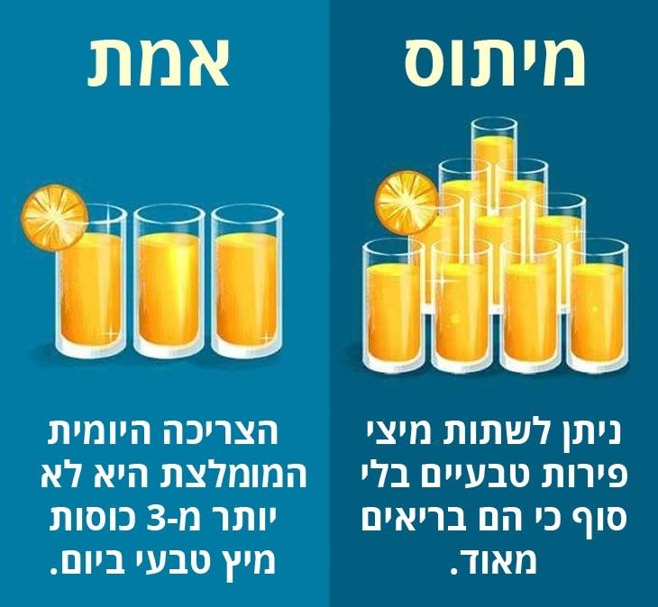 מיתוסים שגויים בנושא בריאות: הצריכה היומית המומלצת של מיצי פירות היא עד ל-3 כוסות ביום