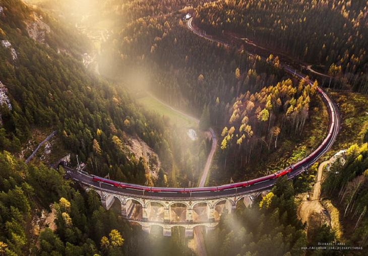 רכבות ונופים: רכבת נוסעת על גשר בין יערות